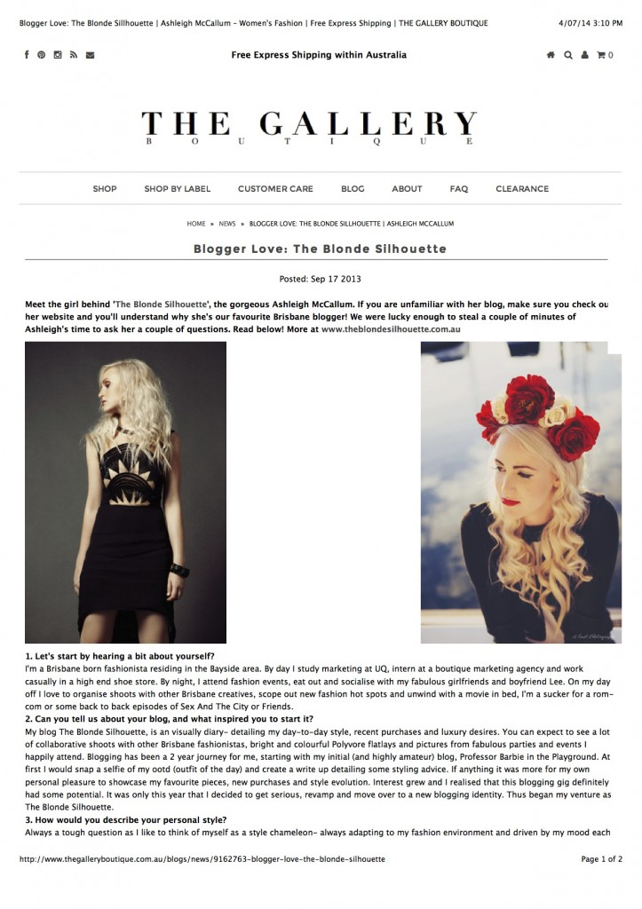 Blogger Love: The Blonde Sillhouette | Ashleigh McCallum – Women's Fashion | Free Express Shipping | THE GALLERY BOUTIQUE