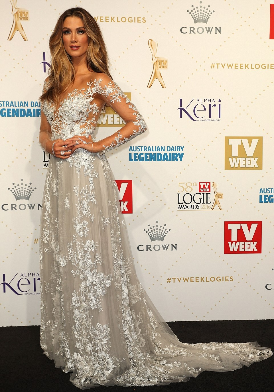 "alt=""Logies Best Dress 2016 Delta Goodrem"""